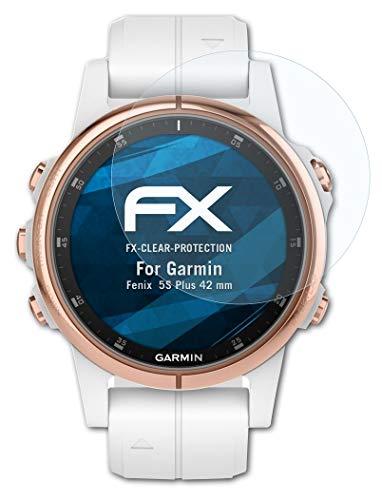 atFoliX Schutzfolie kompatibel mit Garmin Fenix 5S Plus 42 mm Folie, ultraklare FX Bildschirmschutzfolie (3X)