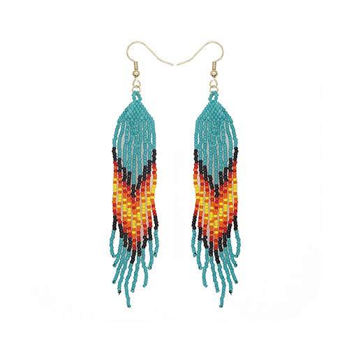 BSbattle Pendientes colgantes africanos con borla nativa americana para mujer, joyería hecha a mano, cuentas de joyería con cuentas