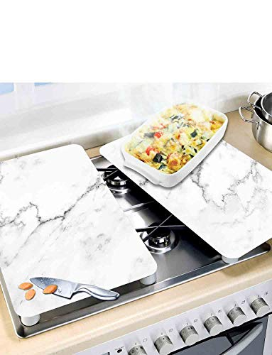 Set of 2 Universal Gas Electric Induction Hob Stove Covers Chopping Board Worktop Surface Protectors Marble