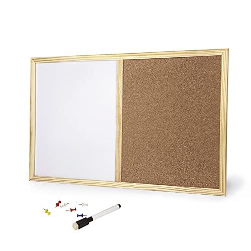Pizarra combinada de pared con doble superficie, panel multiusos 2 en 1 para pared, pizarra blanca con tablero de corcho y marco de madera (60 x 40 cm)