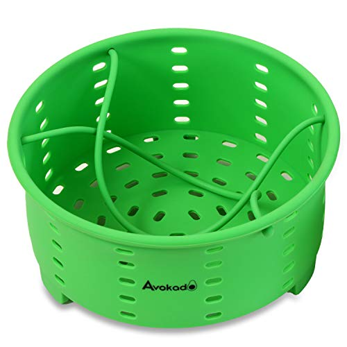 Avokado's Silicone Steamer Basket Compatible 6Qt Instant Pot with an Insert Divider for Instapot Pressure Cookers, Ninja Foodi Cooker, Crockpot Express Cooker and Stove Top Pots