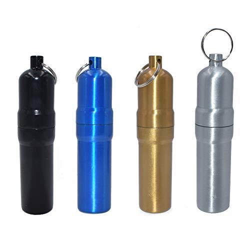 LLMZ Zahnstocher Box Schlüsselanhänger 2 Stücke Portable Metall Zahnstocher Halter Metall Pille Fall mit Schlüsselring