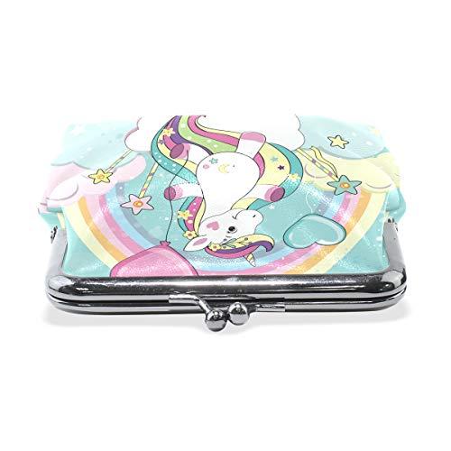 Cartoon Unicorn Rainbow Balloon Wallet Coin Purses Vintage Pouch Fashion PU Leather Money Card Holder for Women Girls Teen Kids