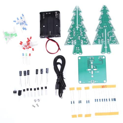 Snufeve6 Equipo de Circuito electrónico, árbol de Navidad 3D, estéreo PCB para decoración navideña(Conjunto de Bricolaje de Tres Colores)
