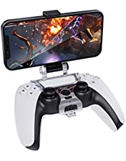 MoKo PS5 Controller Clip Mount, Mobile Phone Clamp Bracket Holder with Adjustable Stand Compatible with Playstation 5 DualSense Wireless Controller, Black