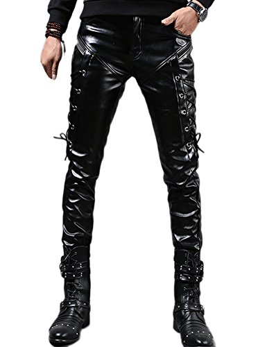 Idopy Herren Rock Steampunk Lace Up PU Leder Hosen Slim Fit, Schwarz, W34(Taille 88CM)