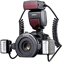 YONGNUO YN-24EX Macro Ring Flash Speedlite with 2 Flash Head 4 Adapter Rings for Canon, with MicroFiber Cloth
