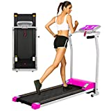 OppsDecor Folding Electric Treadmill for Home Running Machine Fitness Exercise Machine Power Motorized with Pulse Grip and Safety Key (Pink)