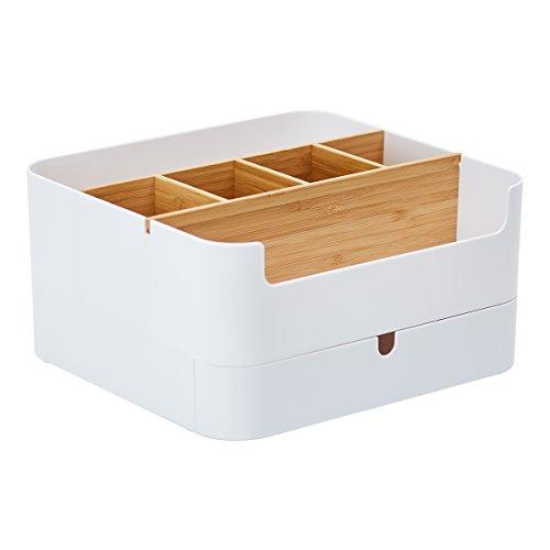 Cenzen Premium Qualität Make Up Organizer, Schminke Aufbewahrung, Schminkbehälter, Hochwertiger Multifunktionaler Bambus Make-up Organizer mit 6 Fächern und 1 Schublade, Kosmetikbox für Badezimmer