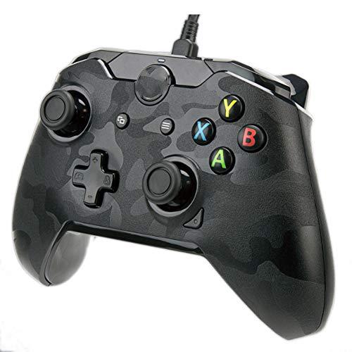 SZKQN Manette de Jeu Filaire pour Xbox One, Manette de Jeu hôte d'ordinateur éblouissement personnalisé RVB Transparent, Peut être connectée à Un Casque à 3,5 canaux stéréo-Camouflage