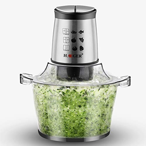 HAEGER Multifunktion Zerkleinerer Elektrisch 500 W mit Quad Blade, Mini Universalzerkleinerer mit 1.5L Glasbehälter für Fleisch Obst Gemüse und Babynahrung, Food Processor mit 2 Geschwindigkeitsstufen