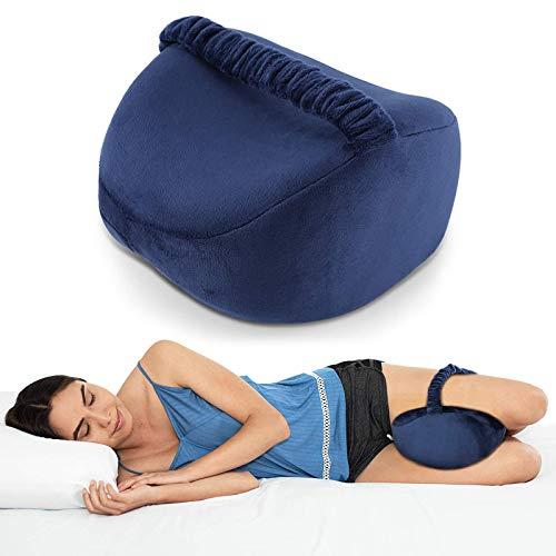 Kniekissen für Seitenschläfer mit Band, Memory Foam Beinkissen Kniekissen zum Schlafen auf der Seite Rücken, Blau Seitenschläferkissen Kniestützkissen Schlafkissen Kissen mit Bezug für Beine Knie