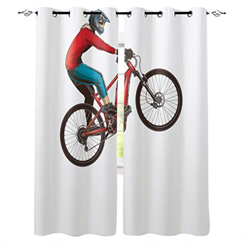 Room Darkening Window Curtain Panels Mountain Bike Curtain Treatment Thermal Insulated Blackout Grommet Drapes Curtain for Living Room, 2 Panels, 52 x 52 inch