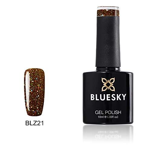 Bluesky Vernis Gel Semi Permanent Cure sous Lampe UV/LED Autumn Glow Rouge Foncé à Paillettes 10 mL