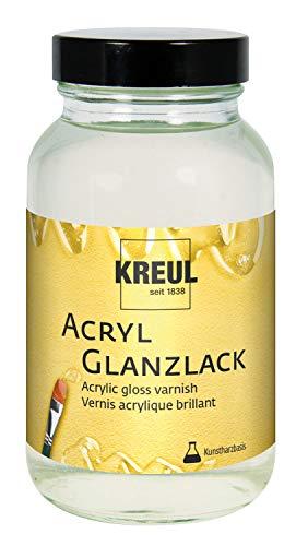 Kreul 79406 - Acryl Glanzlack auf Kunstharzbasis, 250 ml Glas, glänzend transparent, Schutz- und Überzugslack für durchgetrocknete Aufmalungen, für Innen und Außen geeignet