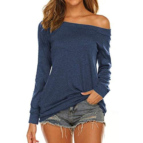 Damen Bluse Langarm Mode Schulter aus T-Shirt Frauen Casual Rundhals T-Shirts Tunika...
