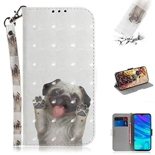 Capa tipo carteira XYX para iPhone 8 Plus, [Correia de pulso] Capa protetora tipo carteira de couro PU colorida para iPhone 7 Plus/iPhone 8 Plus (Pug bonito)