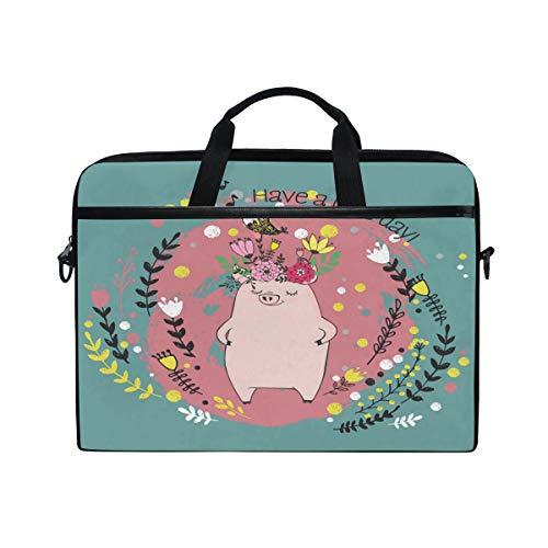 Mnsruu Happy Pig Piggy Animal Floral Print 15 inch Laptop Sleeve Case Briefcase Messenger Notebook Computer Bag Shoulder Strap Handle for Men Women Boy Girls
