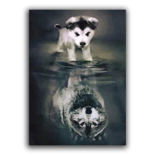 CNHNWJ Hund Wolf Leinwandbild Figur Bild wandbilder Bild Zusammenfassung Fantastisches Bild Poster Kunstdruck für Wohnzimmer Wohnung Deko (50x70cmx1 / kein Rahmen)