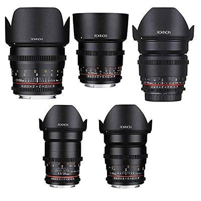 Rokinon Full Lens Bundle for Micro Four Thirds Mount, Includes 16mm T2.2 Lens, 24mm T1.5 Lens, 35mm T1.5 Lens, 50mm T1.5 Lens and 85mm T1.5 Lens from Rokinon