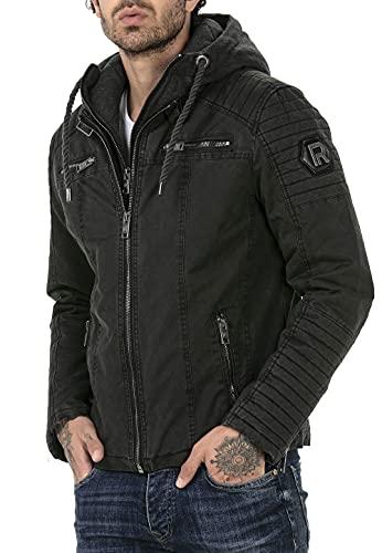 Redbridge Chaqueta de invierno para hombre acolchada con capucha desmontable Negro M