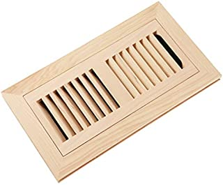 Homewell Hickory Wood Floor Register, Flush Mount Floor Vent Cover, 4X10 Inch, with Damper, Unfinished