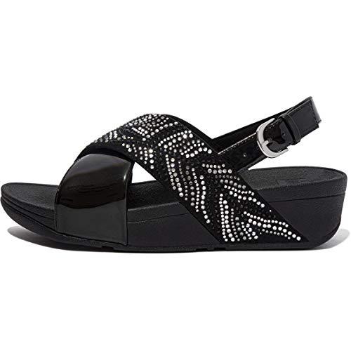 Fitflop Lulu Crystal Feather Back-Strap Sandals, Glissante Femme, Tout Noir, 37 EU