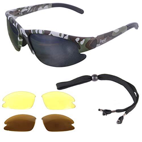 Rapid Eyewear Camouflage Lunettes DE Soleil POLARISÉES DE Sport, PÊCHE ET Chasse avec interchangeables. pour Hommes et Femmes. Utiliser pour tir, armé
