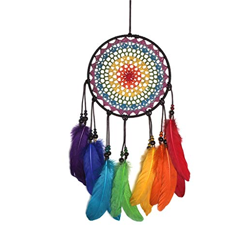 Yousiju Dreamcatchers Handmade Ornaments Wind Chimes Rainbow Feather Dream Catchers for Gifts Wedding Home Decorations