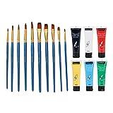 SDENSHI Cepillo de Pintura de Nailon 10 Piezas 6 Colores 30 Ml Pintura Acrílica Dibujo Pigmentos Herramienta Aceite