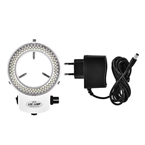 Illuminatore microscopico ad anello regolabile 144 LED Ring Light Illuminator per microscopio stereo.(Bianco nero)(White)