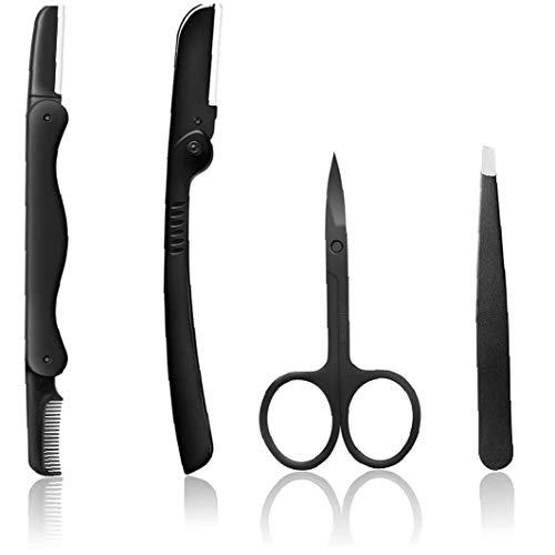 Hotaden Pinza de Cejas Set 4 Piezas, Kit portátil de la ceja afeitadora, la ceja de Acero Inoxidable Herramienta de reparación de la ceja Kit de Herramientas
