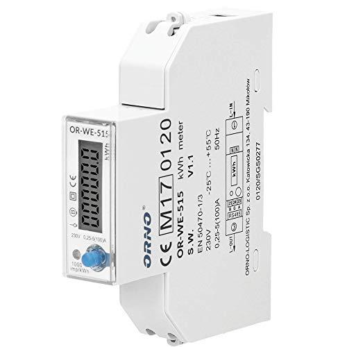 Orno LCD Digitaler Wechselstromzähler 1-Phasen-Anzeige des Stromverbrauchs Stromzähler Energieverbrauch Messgerät Geeicht mit RS485 Port und MID Zertifikat