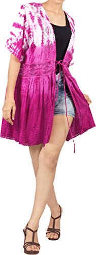 LA LEELA Ricamo Copricostume Mare Cardigan Donna Taglie Forti- Vintage Rayon Estivo Scialle Elegante Tie Dye Kimono Vestito Corto Estate Boho Tunica Etnica Abito da Spiaggia Bianco_A97
