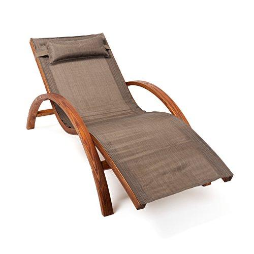 Ampel 24, Chaise Longue de Jardin Tropica | 170x70cm | en Bois de mélèze | avec Coussin