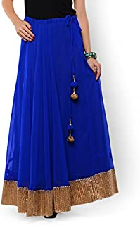 NIKA Women's Georgette Solid Gold Gota Patti Border Long Skirt by Kaanchie Nanggia (KNA-2098_Royal Blue_Freesize)