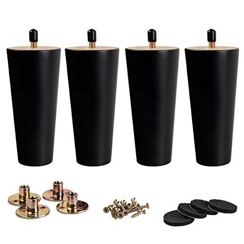 12cm Holz Tischbeine, La Vane 4 Stück Schwarz Massivholz Konisch Ersatz Möbelfüße Möbelbeine mit vorgebohrten M8 5/16