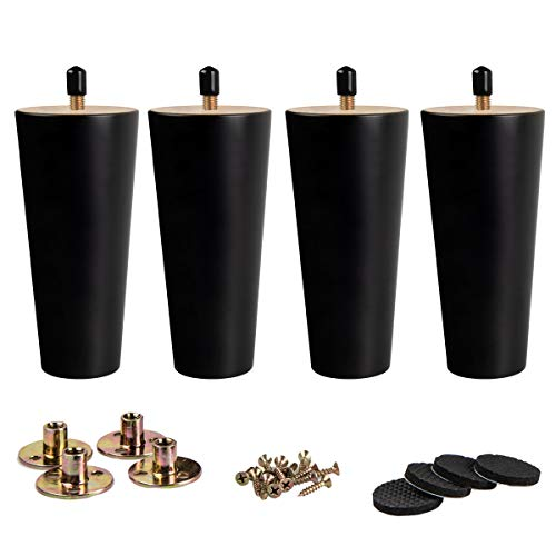 8 inch / 20cm Wooden Furniture Legs, La Vane Set of 4 Black Solid Wood Tapered M8 Furniture Replacement Feet with Pre-Drilled 5/16 Inch Bolt & Mounting Plate & Screws for Sofa Chair Couch Ottoman