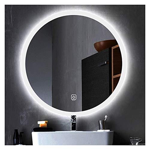 Espejo de baño con iluminación LED, a prueba de explosiones, espejo de tocador con botón táctil, luz de dos colores, redondo, sin marco, color de dos colores, tamaño: 50 cm