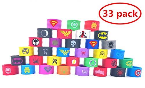 YNOUU 33 Pezzi Superhero Braccialetti Slap, Braccialetti per Bambini Bracciale in Fasce da Supereroe