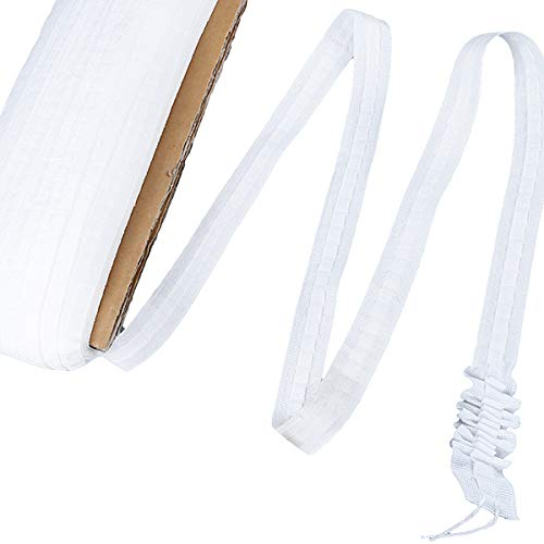 Vorhang Reihband, Polyester Vorhängeband, Vorhänge Universalband, Faltenband Kräuselband, Vorhang Überschrift für Fenstervorhang, Türvorhang & Duschvorhang, Tunnelband in weiß 30 m x 2.5 cm