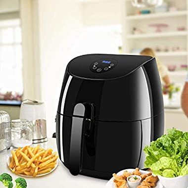 Power Air Fryer XL 3.7QT, Oilless Deep Fryer Cooker with Digital LED Screen, 1350W Power Air Fryer Auto Off and Memory Function, Detachable Basket Dishwasher Safe