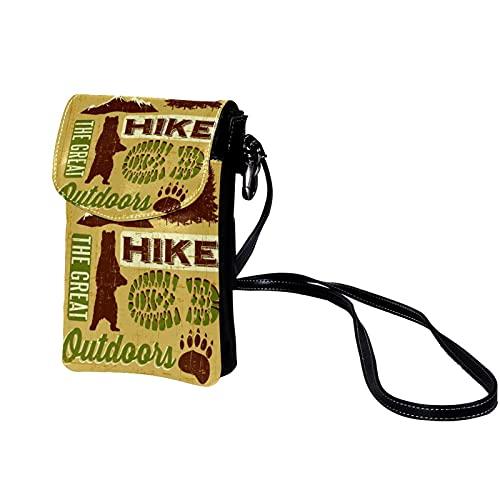 Botones de Cuero Bolso Bandolera Bolso Mensajero Hombre Bolsos de Hombre Bolsos Cruzados Bolso Casual para Trabajo Viaje Vintage Senderismo Camping Camping Bear