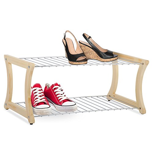 casa pura® Schuhregal Fiona   Massivholz und verchromter Stahl   Standsicherheit auch für kleinere Schuhe   58 x 32 x 25 cm