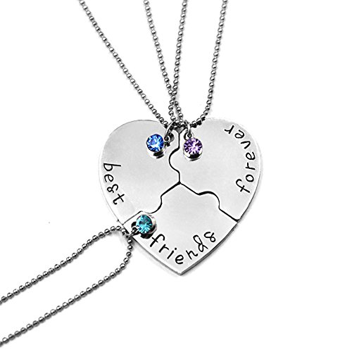 Glimkis Best Friend Forever and Ever 3 Pieces Rhinestone BFF Necklace Heart Shape Pendant Friendship Puzzle Stitching Necklace