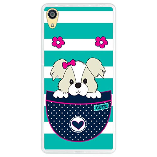 Hapdey Funda Transparente para [ Sony Xperia Z5 Premium ] diseño [ Adorable Perro de Dibujos Animados en un Bolsillo ] Carcasa Silicona Flexible TPU