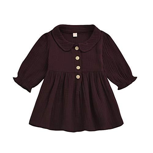 Janly Clearance Sale Falda de vestido para niñas de 0 a 4 años, de lino sólido con volantes, estampado floral, vestido de princesa, bonito regalo para 3 a 4 años, día de San Patricio (vino)
