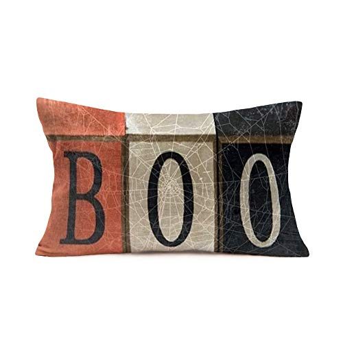 Tlovudori Vintage Halloween Home Decor Throw Lumber Pillow Case Happy Halloween Boo Words with SpiderWeb Cotton Linen Pillow Covers Cushion Case for Sofa Couch Bed 12x20Inch (VD-Boo)