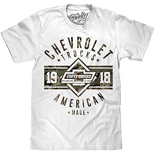 Tee Luv Men's Chevrolet Trucks 1918 Shirt - Chevy Camo Graphic Tee Shirt (White) (L)