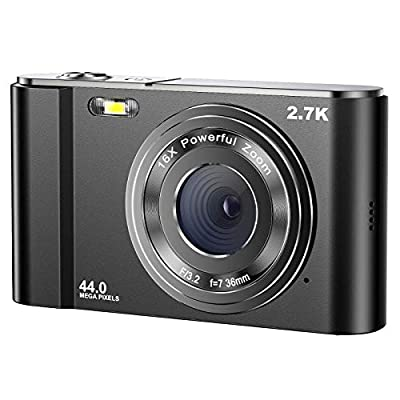 Digital Camera 2.7K Ultra HD Mini Video Camera 44MP 2.8 Inch LCD Rechargeable Students Compact Camera Pocket Camera with 16X Digital Zoom YouTube Vlogging Camera for Kids,Adult,Beginners (Black)